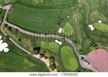 Vertical view of Golf Course practice area