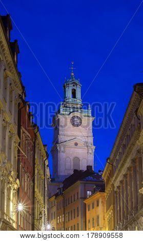 Storkyrkan, Old town, Stockholm, Sweden by night