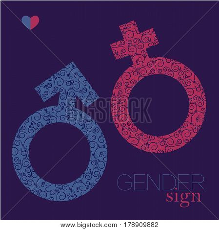 Elegant Sex sign. gender equality icon. Man and woman symbol