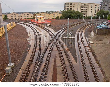Railroad bifurcation in an urban setting in New Zealand