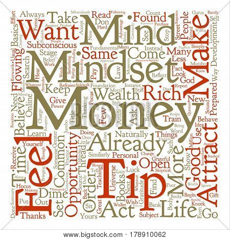 Mindset To Attract Money Word Cloud Concept Text Background