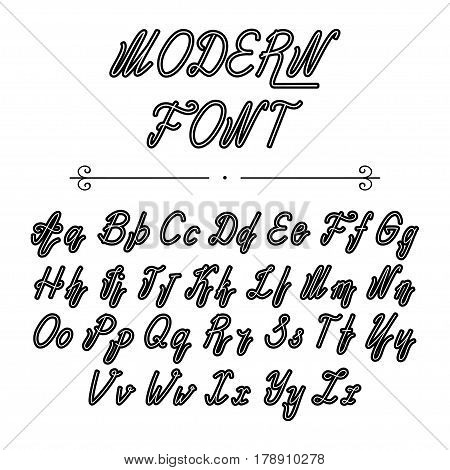 Handwritten lettering font alphabet made in vector. Font, typeface, modern style, vintage script. Hand drawn retro style calligraphic typeface for labels and any type designs.