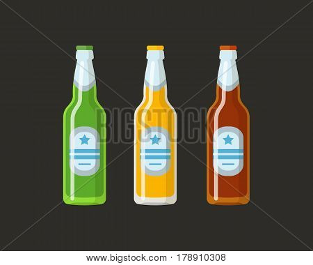 A set of beer bottles of different colors of glass. Concept for beer festivals and parties in a trendy flat style.
