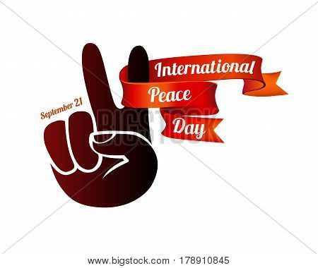 International Peace Day. September 21. Vector card with peace hand symbol
