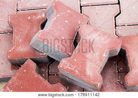 Red Pavement Brick Out During The Renovation Of The Street