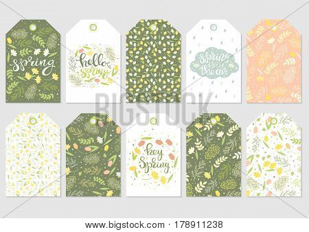 Cute gift tags set. Spring floral patterns handwritten text. Flowers mimosa narcissus and tulips green leaves. Vector illustration.