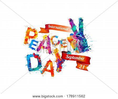 International Peace Day. September 21. Vector card of watercolor splash paint