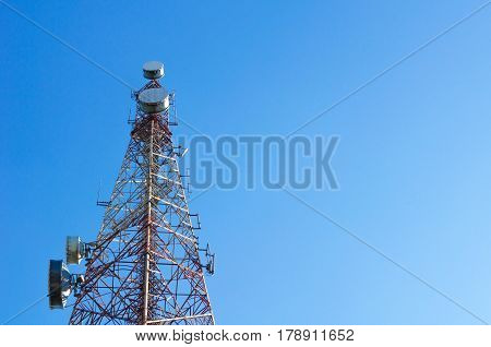 telecommunication tower with blue sky, for radio, television and telephony