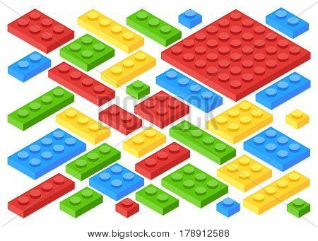 Isometric plastic building blocks and tiles. Toy kids bricks vector set. Toy block construction, illustration of cube toy for play. Flat cartoon style vector illustration