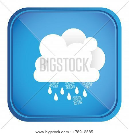 colorful square frame and blue background with cumulus of clouds with rain vector illustration