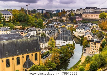 Luxembourg City, Luxembourg - October 22, 2016: Panorama Of Luxembourg City