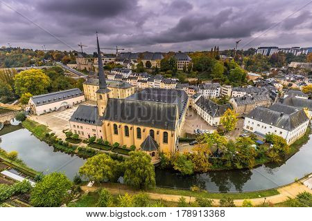 Luxembourg City, Luxembourg - October 22, 2016: Neumunster Abbey In Luxembourg City