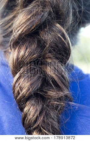 Braid Hairstyle. Brunette dark brown or black Long Hair close up. Male man hair. Very strong and thick