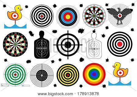 set a target for shooting range bullet holes vector