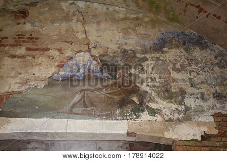 shot of old dilapidated church painting in abandoned church