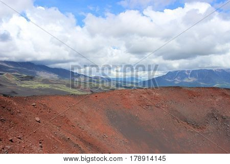 Black And Red Ash, Valley Of Hills, After Volcanic Eruption