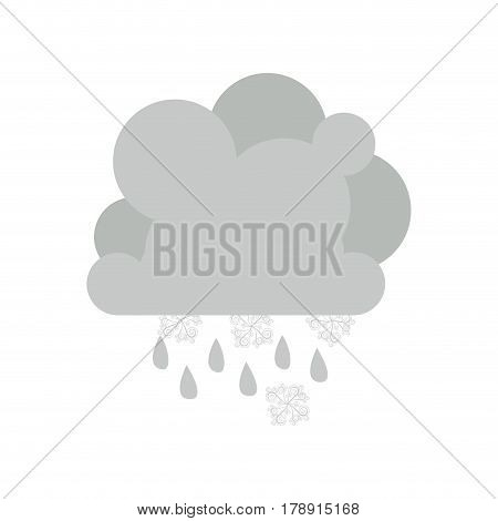 monochrome cumulus cloud with snowflakes and raindrops vector illustration