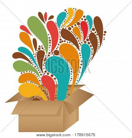 cardboard box with abstract colorful arc-drop figures vector illustration