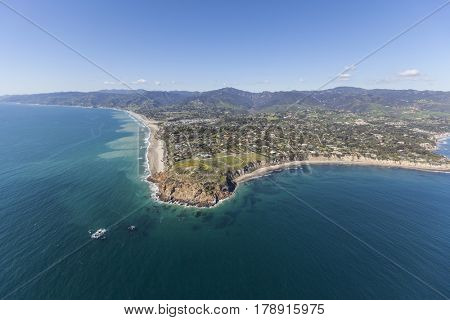 Aerial view of Point Dume State Park in Malibu, California.