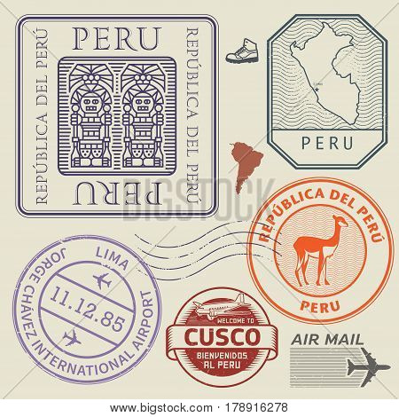 Travel stamps or symbols set Peru South America theme vector illustration