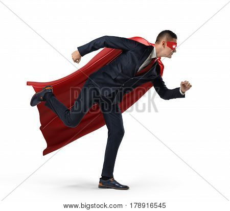 A businessman in a hero red cape and a mask in side view ready to run with one leg already in air on white background. Business and competition. Getting results. Constant workload.
