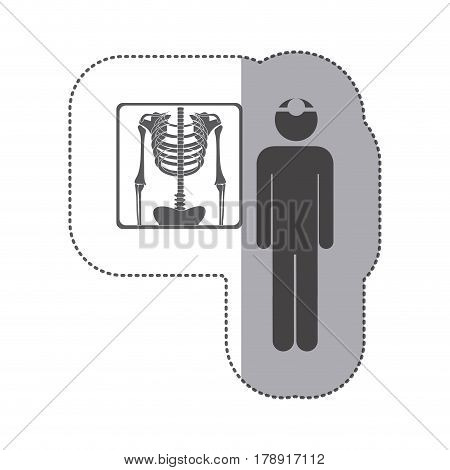 sticker monochrome pictogram doctor and radiography vector illustration