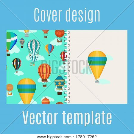 Cover design for print with cartoon hot air balloons pattern. Vector illustration