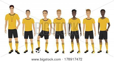 Vector illustration of the young football players team with coach trainer wearing the uniform. Soccer team
