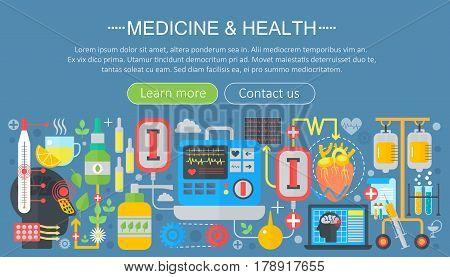 Medicine and health design concept set with healthcare medicine devices infographics template design, web header elements, poster banner. Vector illustration