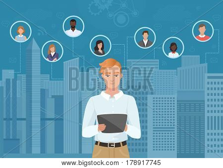 Young man in thew city browsing tablet and communicating with people vector illustration. Social media and social network concept
