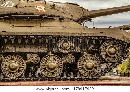 Belgorod Russia - October 08 2016: View of the fragment with caterpillar chassis of Soviet heavy tank IS-3 during the second world war. Outdoor area of the Museum diorama