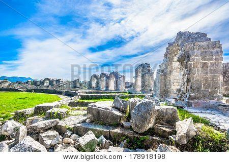 Picturesque scenic view at amphitheater in Salona, old roman province in Croatia near town Split, Croatia.