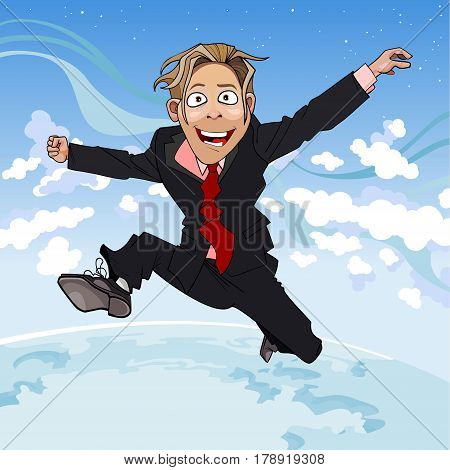 cartoon man in suit and tie fun jumps