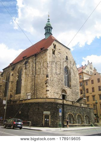 The Church of St. Vaclav on Zderaze near Nove Mesto, Prague, Czech Republic. Ancient old church in old town Praha.