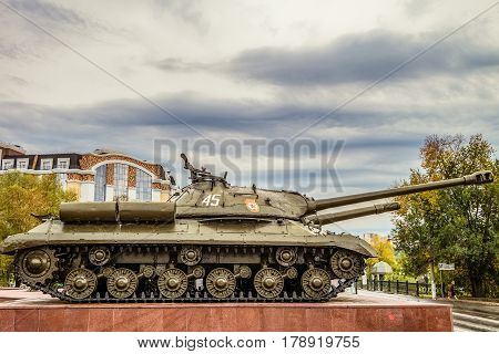 Belgorod Russia - October 08 2016: View profile the heavy Soviet tank is-3 during the second world war. Outdoor area of the Museum diorama