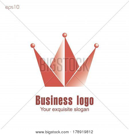 Crown business logo Diadem emblem red consists of a triangle and three ball for the company or site text stock vector illustration