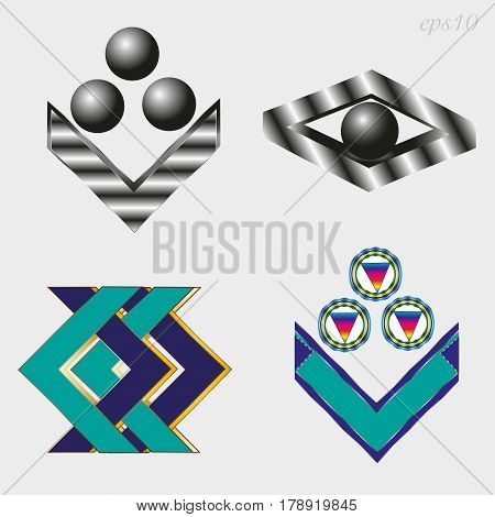 Four different logo sets Business emblem of two style metal and two multi-colored simple geometric pattern of black ball, cut of metal author design of stock vector illustration