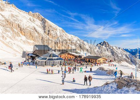 GARMISCH-PARTENKIRCHEN GERMANY - DECEMBER 10 2016: Weather station observatory and other buildings on top of Zugspitze