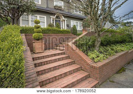 House entrance and garden in Portland Oregon.