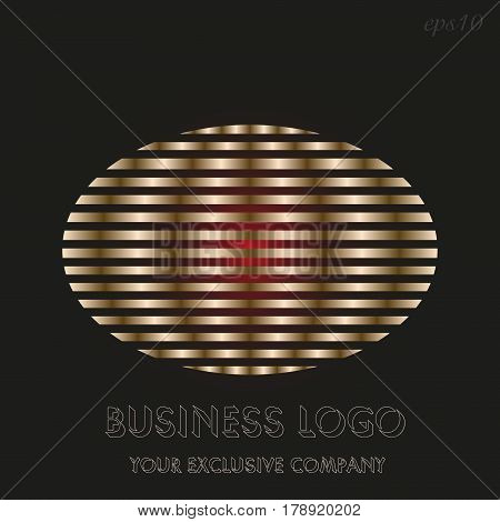 Golden ellipse logo   Emblem of business on black background sector golden ellipse inside decoration author design text stock vector illustration