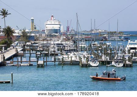 The view of harbor in Nassau the capital of The Bahamas.
