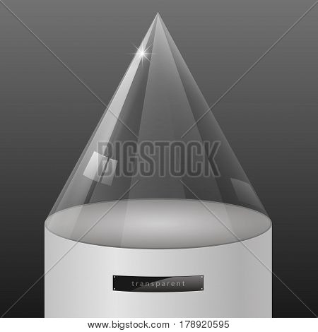 Showcase of glass in the form of a cap on the podium. Exposition of jewelry. Vector graphics with the effect of transparency. Retail store equipment