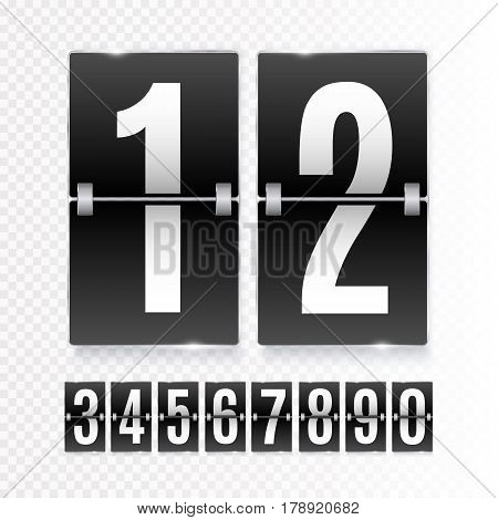 Black Countdown timer with white numbers isolated on transparent background. Clock counter. Vector template
