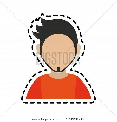 faceless man with dark hair goatee icon image vector illustration design