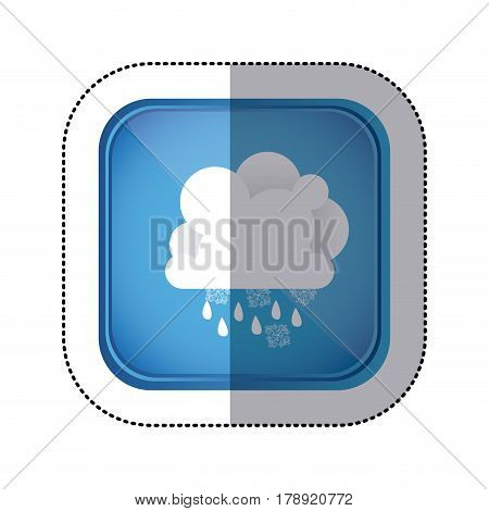 sticker colorful square frame and blue background with cumulus of clouds with rain vector illustration