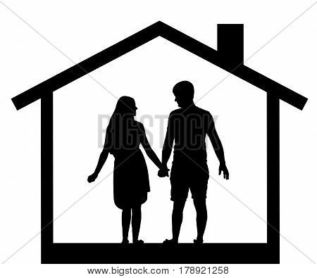 silhouette of couples men and women in the house vector
