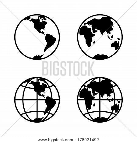 World icon set on white background, 2 hemispheres. Vector illustration