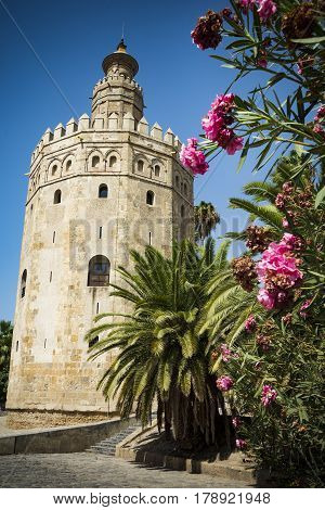 Tower of Gold by the Guadalquiver river in Seville
