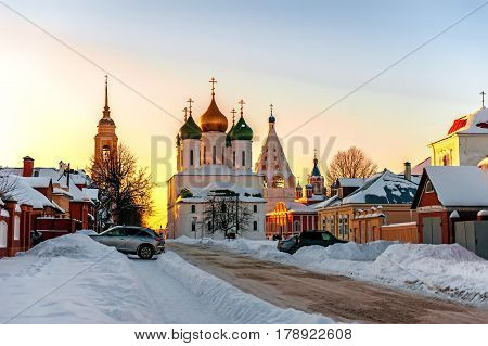 Kolomna Cathedral square in the rays of the setting sunlight on a winter evening