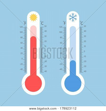 Meteorology thermometers. Cold and heat temperature. Flat style vector illustration. Celsius and fahrenheit